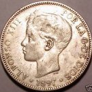 1897(97)SG-V SPAIN RARE 5 PESETAS~WE HAVE RARE COINS~