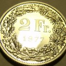Rare Gem Cameo Proof Switzerland 1977 2 Francs~Only 7,030 Minted~Free Shipping