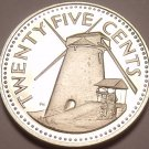 Rare Proof Barbados 1974 25 Cents~Morgan Lewis Windmill~36,000 Minted~Free Ship