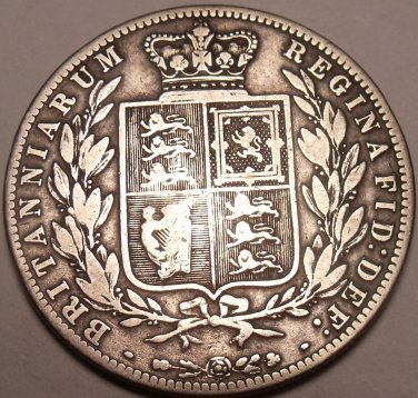 Huge Rare Silver Great Britain 1875 Half Crown~Not Many Of These Around~Free Shi