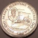 Massive Gem Unc Isle Of Man 1982 Crown~Maritime Heritage~P.S. Mona's Queen II~FS