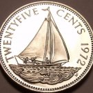 PROOF BAHAMAS 1972 25 CENTS~SAILBOAT~EXCELLENT~FREE SHI