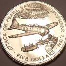 Huge Gem Unc Liberia 2000 5 Dollars~Attack On Pearl Harbor~Free Shipping