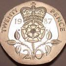 Cameo Proof Great Britain 1987 20 Pence~Great Investment~89,000 Minted~Free Ship
