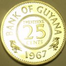 RARE PROOF GUYANA 1967 25 CENTS~5,100 MINTED~1ST YEAR EVER~FREE SHIPPING~