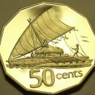 HUGE RARE FIJI 1980 PROOF 50 CENTS~ONLY 2,500 MINTED~SAILBOAT TAKIA~FREE SHIP~