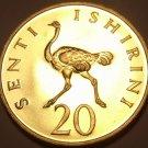 Rare Proof Tanzania 1966 20 Senti~5,500 Minted~Ostrich~Fantastic~Free Shipping