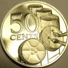 PROOF TRINIDAD & TOBAGO 1974 50 CENTS~DRUMS~FREE SHIP~14K MINTED~