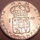 Unc Silver Sweden 1954-TS Krona~Rular Gustaf VI~Crowned Shield~Free Shipping