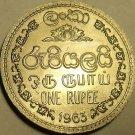 Gem Unc 1963 Sri Lanka (Ceylon) 1 Rupee~1st Year Ever Minted~Free Shipping
