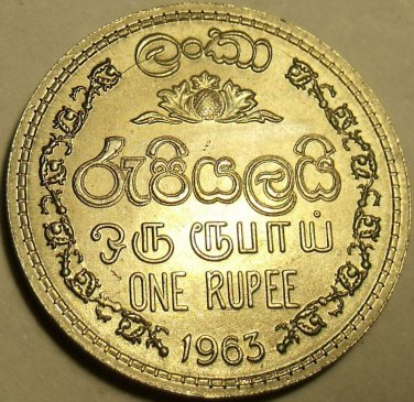 Gem Unc 1963 Sri Lanka (Ceylon) 1 Rupee~1st Year Ever Minted~Free Shipping