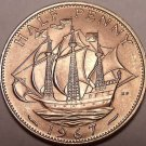 Gem Unc Great Britain 1967 Half Penny~The Golden Hind~Fantastic~Free Shipping