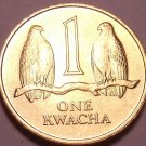 Gem Unc Zambia 1992 1 Kwacha~Two Falcons On a Branch~See R African Coins~Free Sh