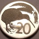 Large Rare Cameo Proof New Zealand 1976 20 Cents~11,000 Minted~Kiwi Bird~Free Sh