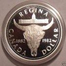 Canada Silver Proof 1982 Commemorative Dollar~Regina~Cattle Skull~Free Shipping