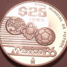 Gem Cameo Silver Proof Mexico 1986 25 Pesos~World Cup Soccer~Free Shipping