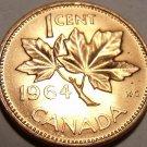 Gem Uncirculated Canada 1964 Maple Leaf Cent~Queen Eliz