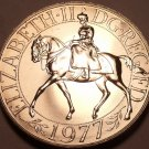Proof Great Britain 1977 25 Pence~Jubilee Of Reign~The Queen on Horseback~Fr/Shi