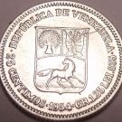 Unc Silver Venezuela 1954-P 25 Centimos~Now Over 60 Years Old~Free Shipping