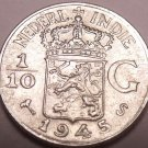 Unc Silver Netherlands East Indies 1945-S 1/10th Gulden~We Have Unc Silver~Fr/Sh