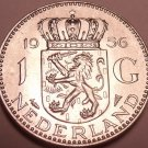 Unc Silver Netherlands 1956 Gulden~Edge Incription~GOD BE WITH US~Free Shipping