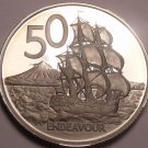 Rare Proof New Zealand 1975 50 Cents~Only 10,000 Minted~H.M.S. Endeavour~Free Sh