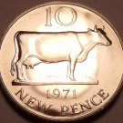 Rare Proof Guernsey 1971 10 Pence~Only 10,000 Minted~Guernsey Cow~Free Shipping