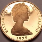 Rare Proof New Zealand 1975 Cent~Only 10,000 Minted~Silver Fern Leaf~Free Ship