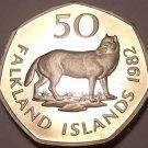 Rare Huge Cameo Proof Falkland Islands 1982 50 Pence~The Extinct Fox~Free Ship