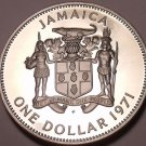 Rare Cameo Proof Jamaica 1971 Dollar~Only 15,000 Minted~Excellent~Free Shipping