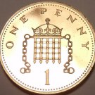 Proof Great Britain 1977 Penny~Crowned Portocullis~194,000 Minted~Free Shipping