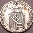 Scarce Silver Breman German States 1859 12 Grote (1/6th Thaler)~Free Shipping