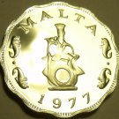 Rare Cameo Proof Malta 1977 5 Mils~Earthen lampstand~Only 6,884 Minted~Free Ship