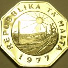 Large Rare Cameo Proof Malta 1977 25 Cents~Fantastic~Only 6,884 Minted~Free Ship