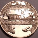 Solid Bronze Proof Franklin Mint Medallion~Winter Magic~Horse Pulling Sleigh~F/S