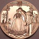Solid Bronze Proof Franklin Mint Medallion~A Kiss Under The Mistletoe~Free Ship