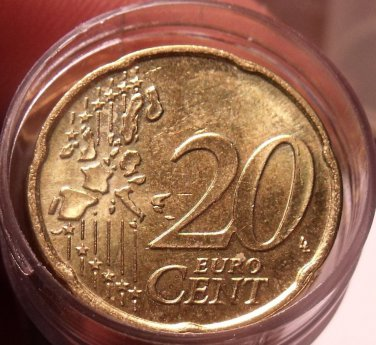 Roll (35 Coins) Eurpoean 20 Euro Cents~Belgium~Netherlands~France~Germany~Fr/Shi
