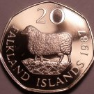 Rare Proof Falkland Islands 1987 20 Pence~2,500 Minted~Romney Marsh Sheep~Fr/Shi