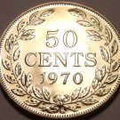 Large Rare Proof Liberia 1970 50 Cents~Only 3,464 Minted~Free Shipping