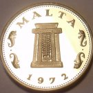 Rare Proof Malta 1972 5 Cents~13,000 Minted~Temple of Hagar Qim~Free Shipping