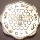 Rare Cameo Proof Malta 1972 3 Mils~Bee and Honeycomb~Only 13,000 Minted~Free Shi