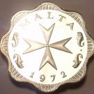 Rare Cameo Proof Malta 1972 2 Mils~Maltese Cross~Only 13,000 Minted~Free Ship