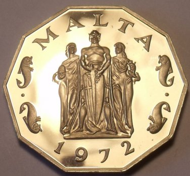 Large Rare Proof Malta 1972 50 Cents~Great Siege Monument~13,000 Minted~Free Shi