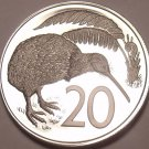 Rare Proof New Zealand 1972 20 Cents~Only 8,045 Minted~Kiwi Bird~Excellent~Fr/S