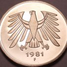Gem Cameo Proof Germany 1981-F 5 Marks~Eagle With 14 Feathers~91k Minted~Free Sh
