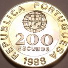 Rare Huge Bi-Metal Proof Portugal 1998 200 Escudos~Proofs Are The Mints Best~F/S