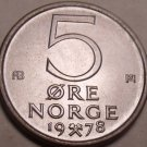 Norway Gem Brillaint Unc 1978 5 Ore~Awesome~We Have Gem Unc Coins~Free Shipping