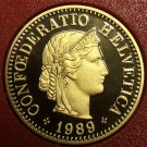 Rare Cameo Proof Switzerland 1989 5 Rappen~Only 8,800 Minted~Proofs R Best~Fr/S