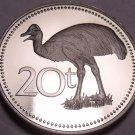 Rare Cameo Proof Papua New Guinea 1981 20 Toea~Bennett's Cassowary~10k Minted~FS