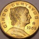 Unc Mexico 1968 5 Centavos~Brass Coin~White Josefa~Free Shipping